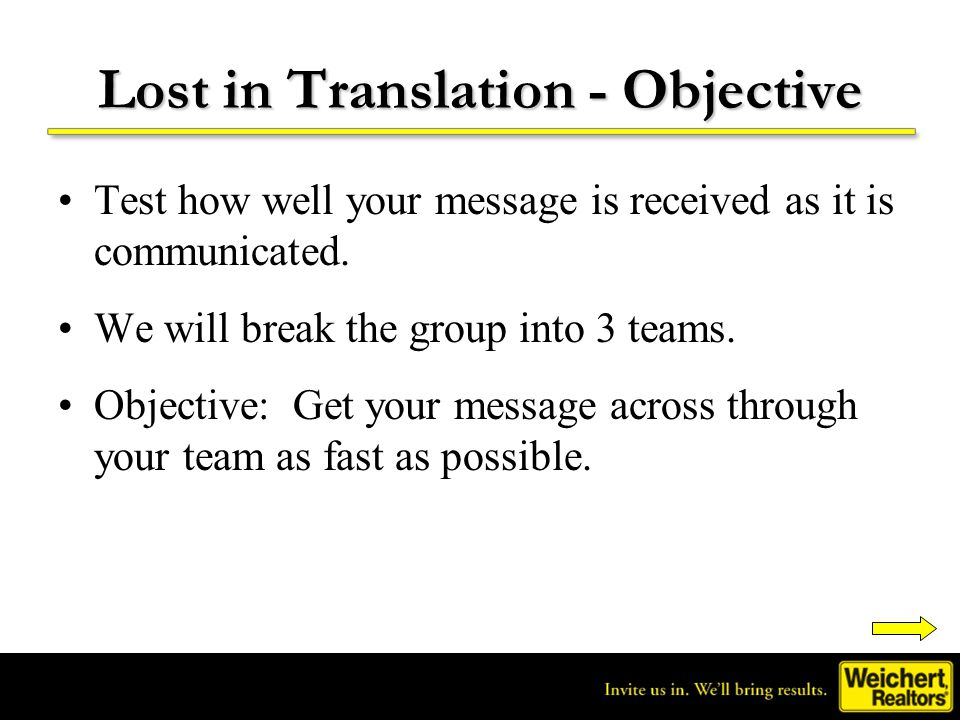 Lost in Translation - Objective