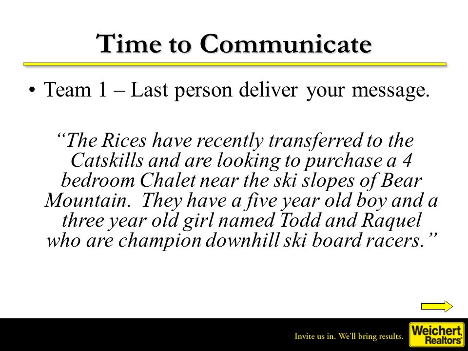 Time to Communicate Team 1 – Last person deliver your message.