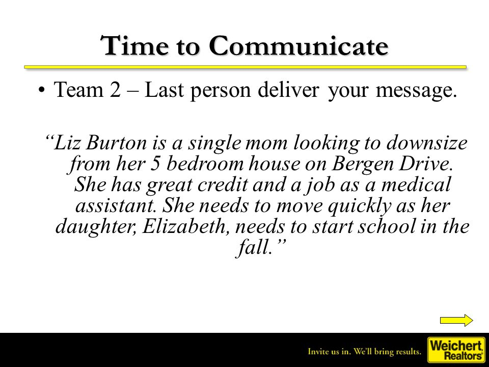 Time to Communicate Team 2 – Last person deliver your message.