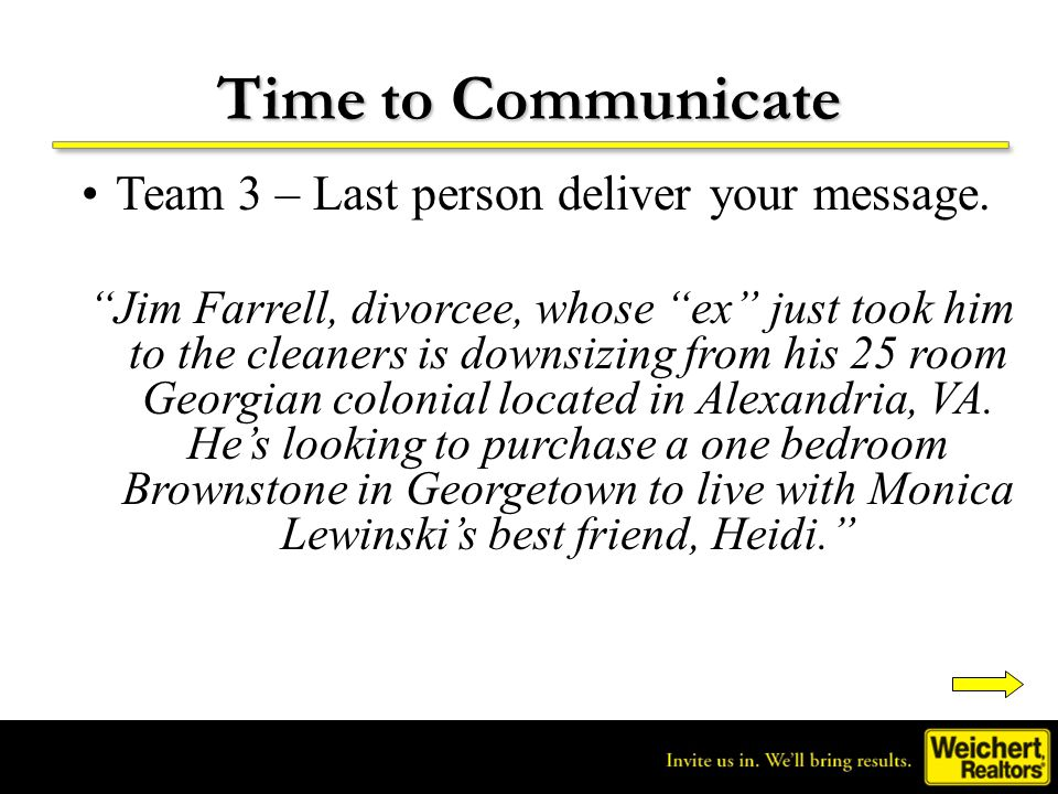 Time to Communicate Team 3 – Last person deliver your message.