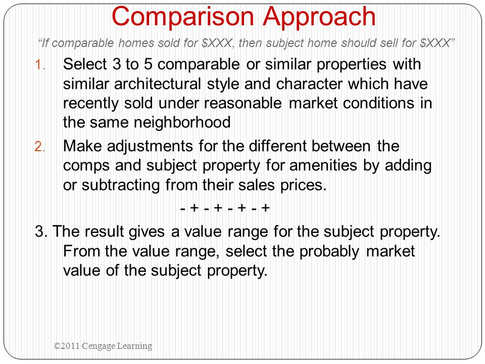 Comparison Approach If comparable homes sold for $XXX, then subject home should sell for $XXX