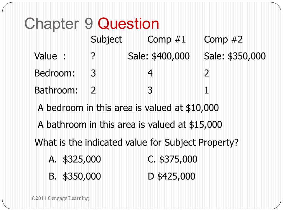 Chapter 9 Question Subject Comp #1 Comp #2