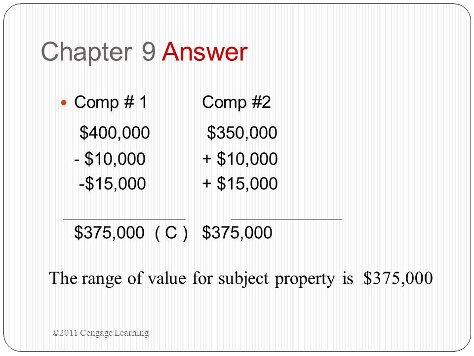 Chapter 9 Answer Comp # 1 Comp #2. $400,000 $350,000. - $10,000 + $10,000. -$15,000 + $15,000.