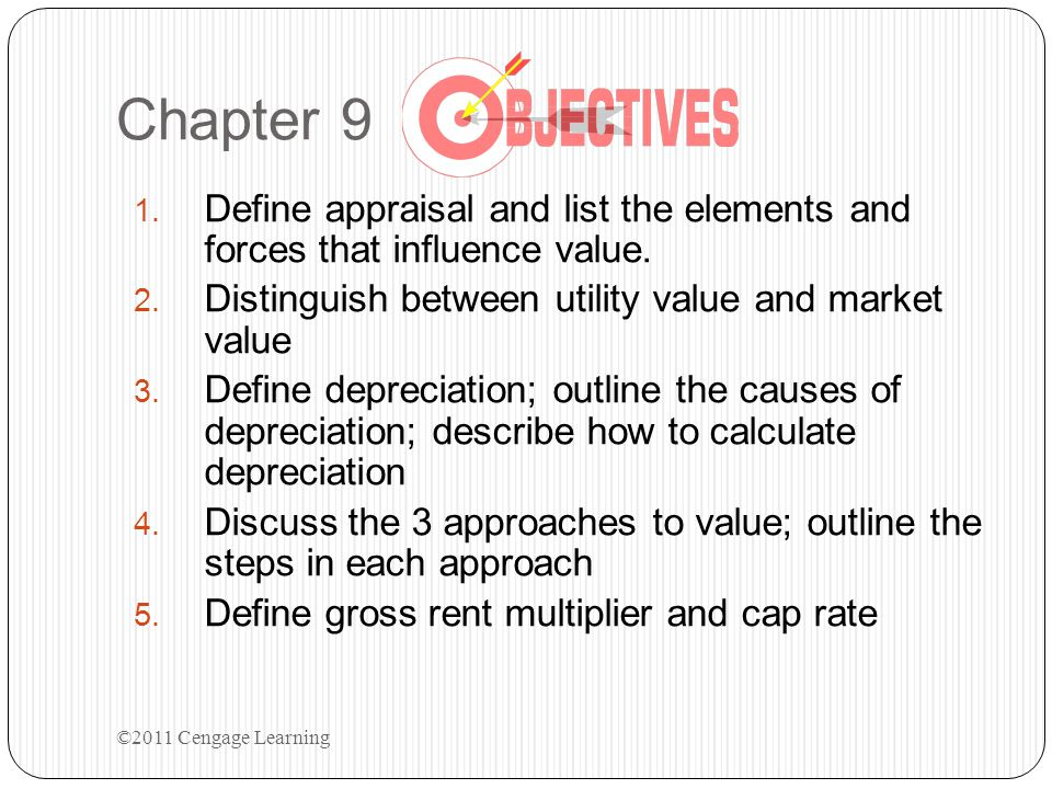 Chapter 9 Define appraisal and list the elements and forces that influence value. Distinguish between utility value and market value.