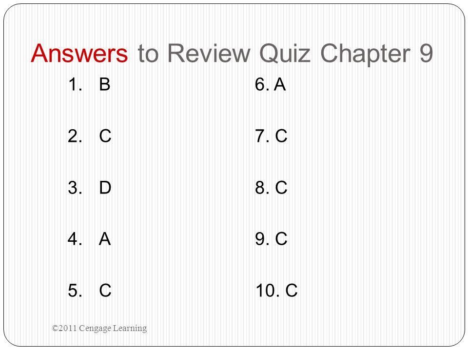 Answers to Review Quiz Chapter 9