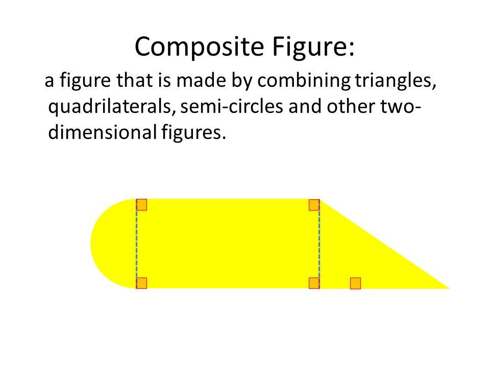 Composite Figure: a figure that is made by combining triangles, quadrilaterals, semi-circles and other two-dimensional figures.