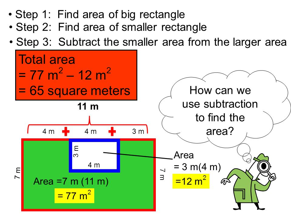 How can we use subtraction to find the area