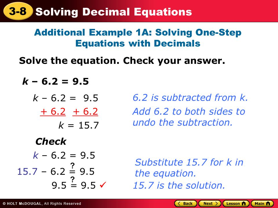 Additional Example 1A: Solving One-Step Equations with Decimals