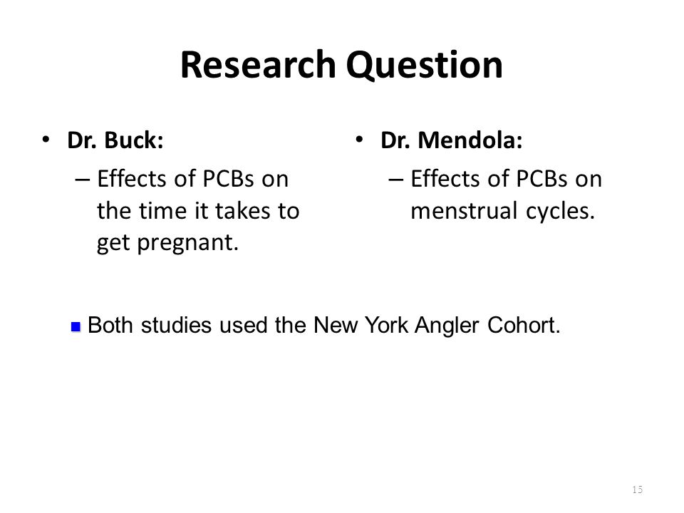 Research Question Dr. Buck: