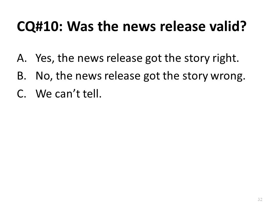 CQ#10: Was the news release valid