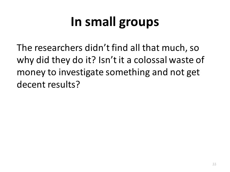 In small groups