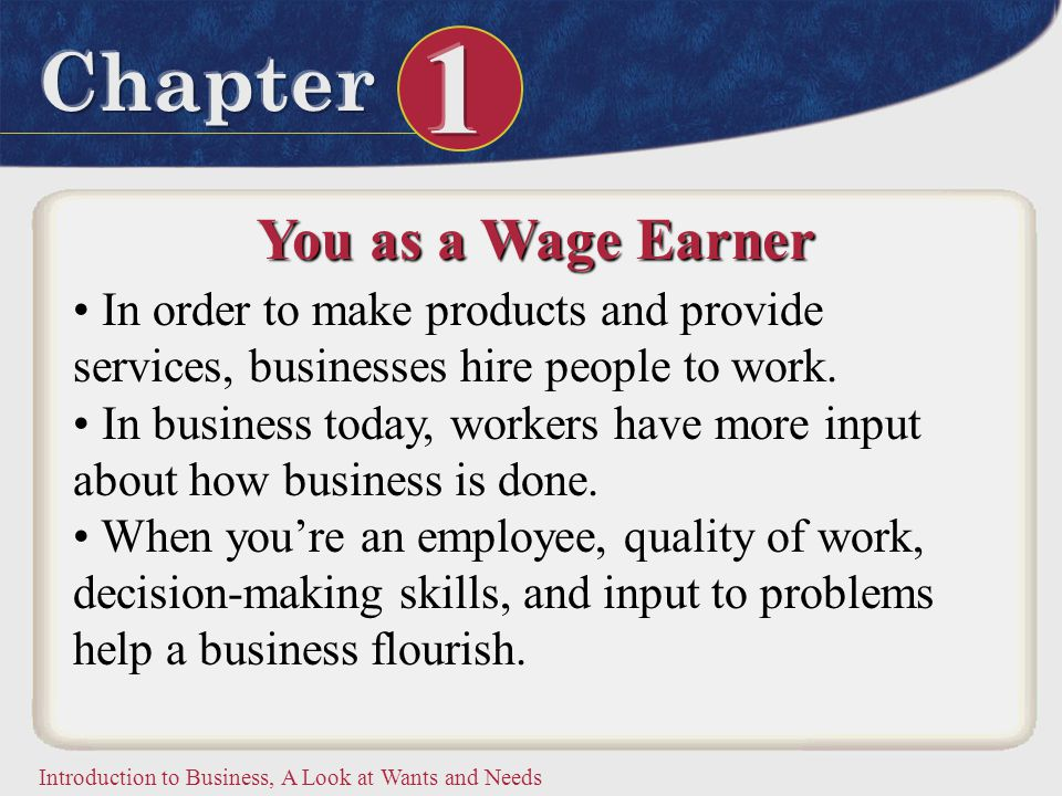You as a Wage Earner In order to make products and provide services, businesses hire people to work.