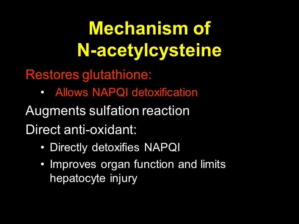 Mechanism of N-acetylcysteine