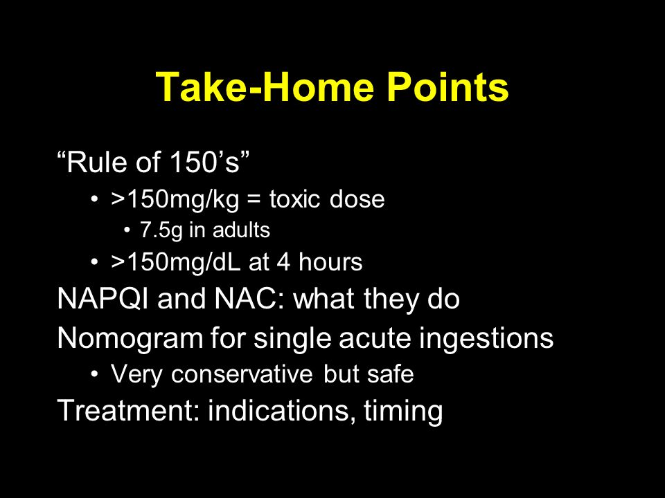 Take-Home Points Rule of 150's NAPQI and NAC: what they do