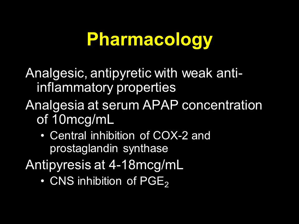 Pharmacology Analgesic, antipyretic with weak anti-inflammatory properties. Analgesia at serum APAP concentration of 10mcg/mL.