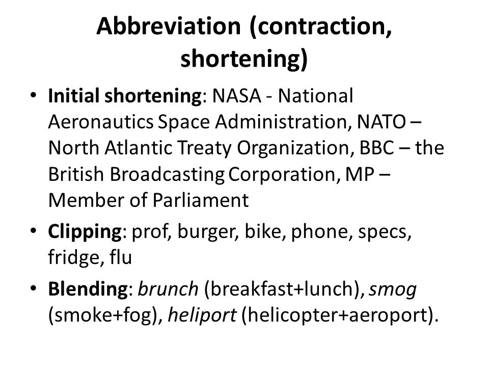 Abbreviation (contraction, shortening)