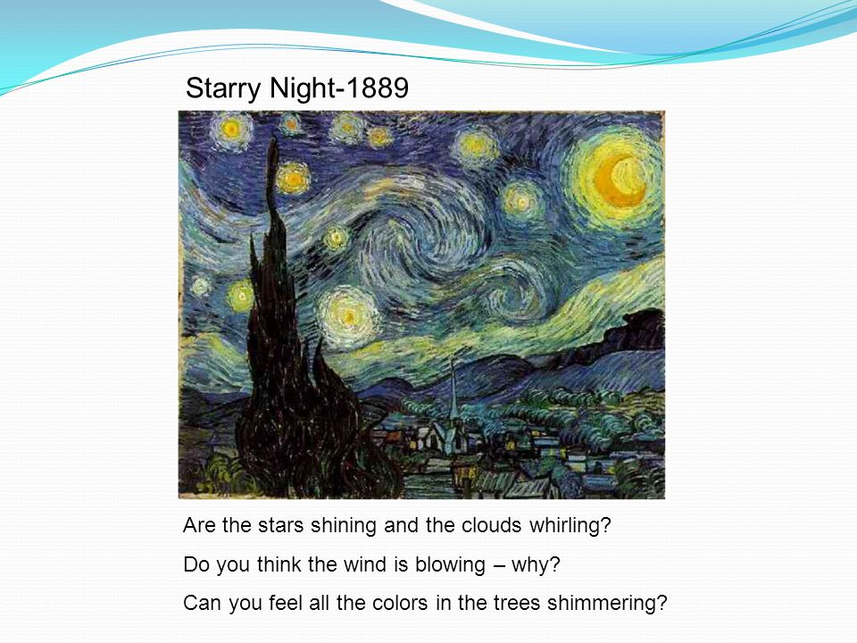 Starry Night-1889 Are the stars shining and the clouds whirling