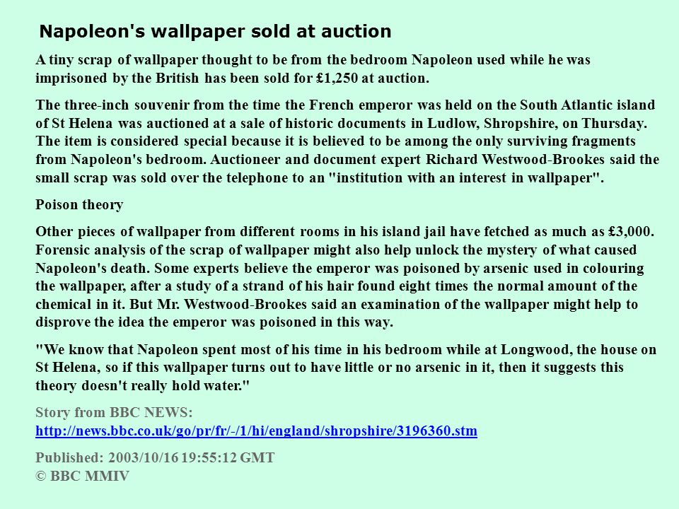 Napoleon s wallpaper sold at auction