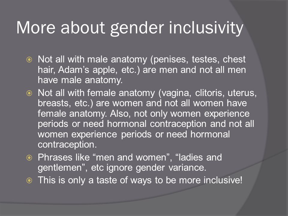 More about gender inclusivity