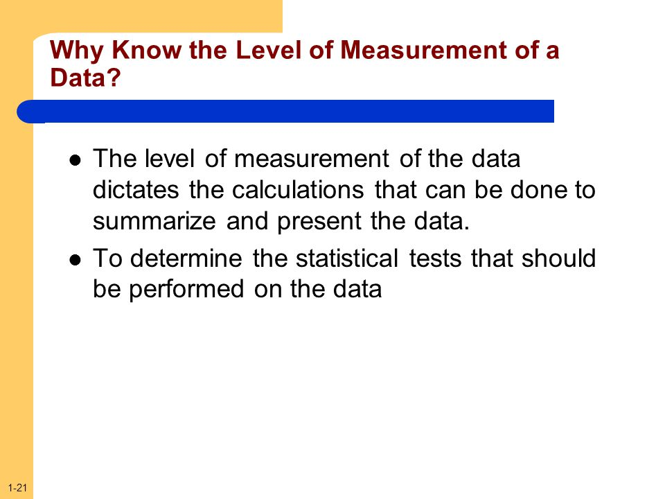 Why Know the Level of Measurement of a Data