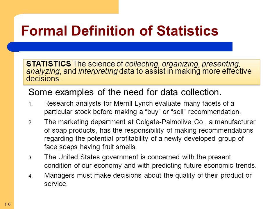 Formal Definition of Statistics