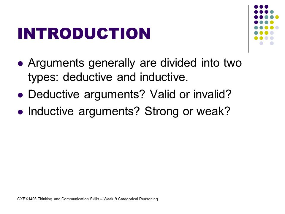 INTRODUCTION Arguments generally are divided into two types: deductive and inductive. Deductive arguments Valid or invalid