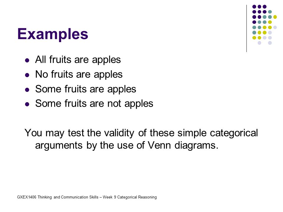 Examples All fruits are apples No fruits are apples