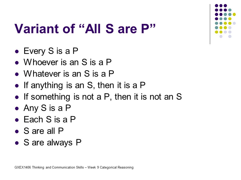 Variant of All S are P Every S is a P Whoever is an S is a P