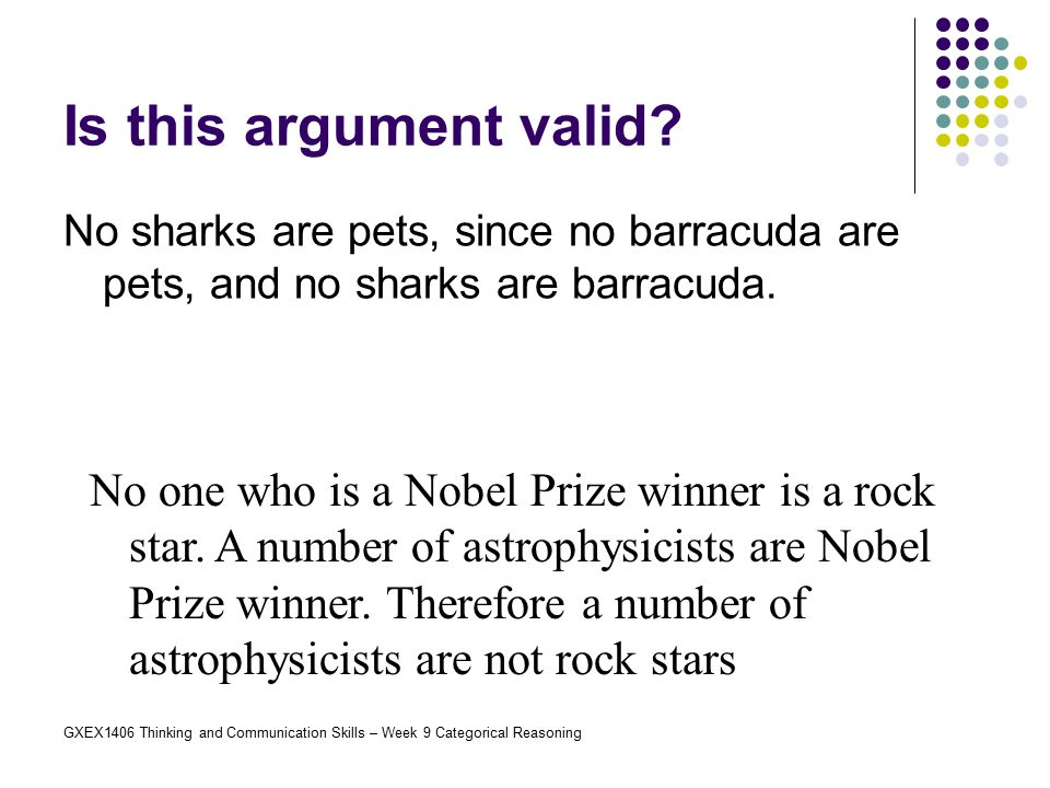 Is this argument valid No sharks are pets, since no barracuda are pets, and no sharks are barracuda.
