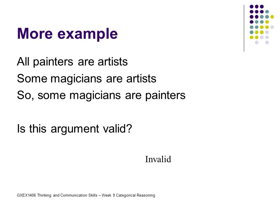 More example All painters are artists Some magicians are artists