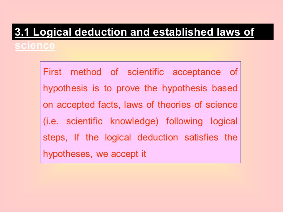 3.1 Logical deduction and established laws of science