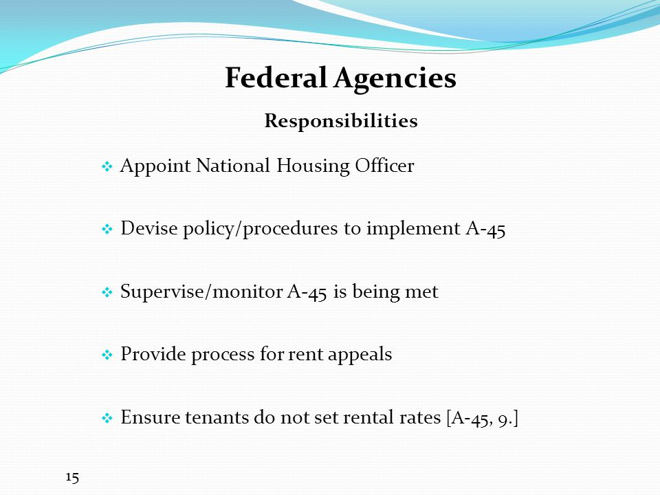 Federal Agencies Responsibilities Appoint National Housing Officer
