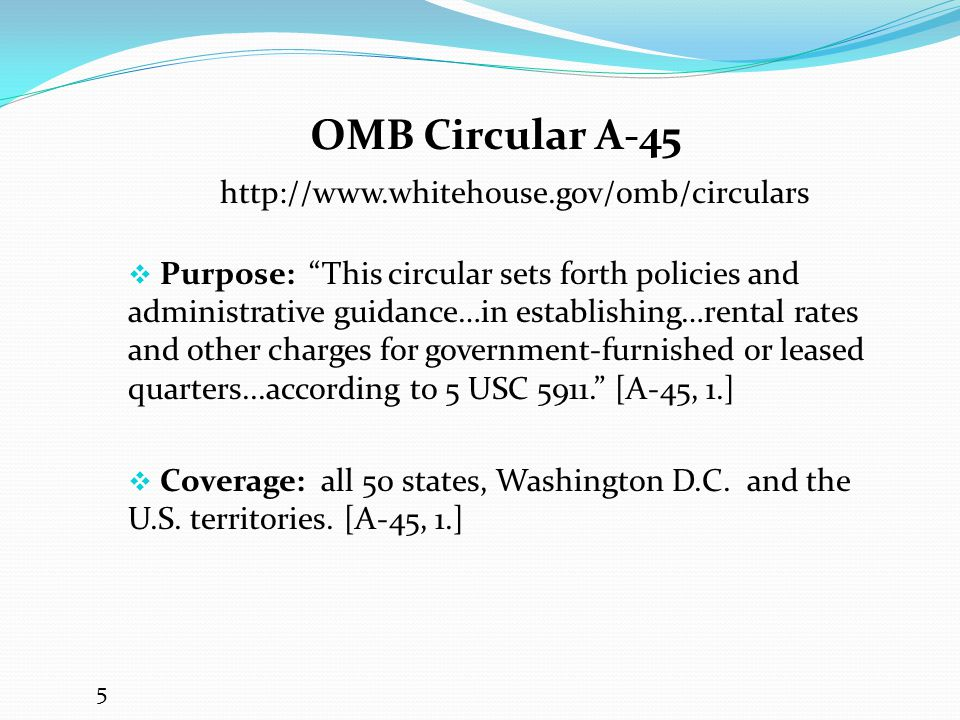 OMB Circular A-45 http://www.whitehouse.gov/omb/circulars