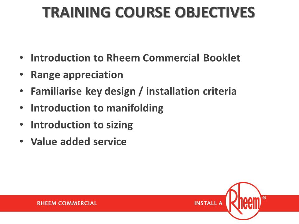 TRAINING COURSE OBJECTIVES