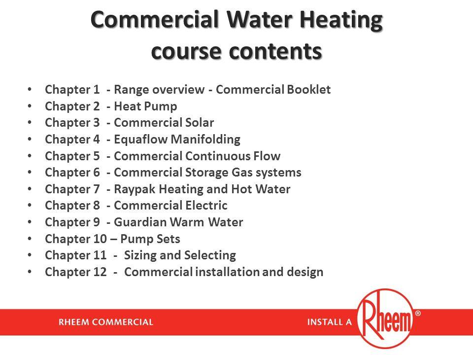Commercial Water Heating course contents