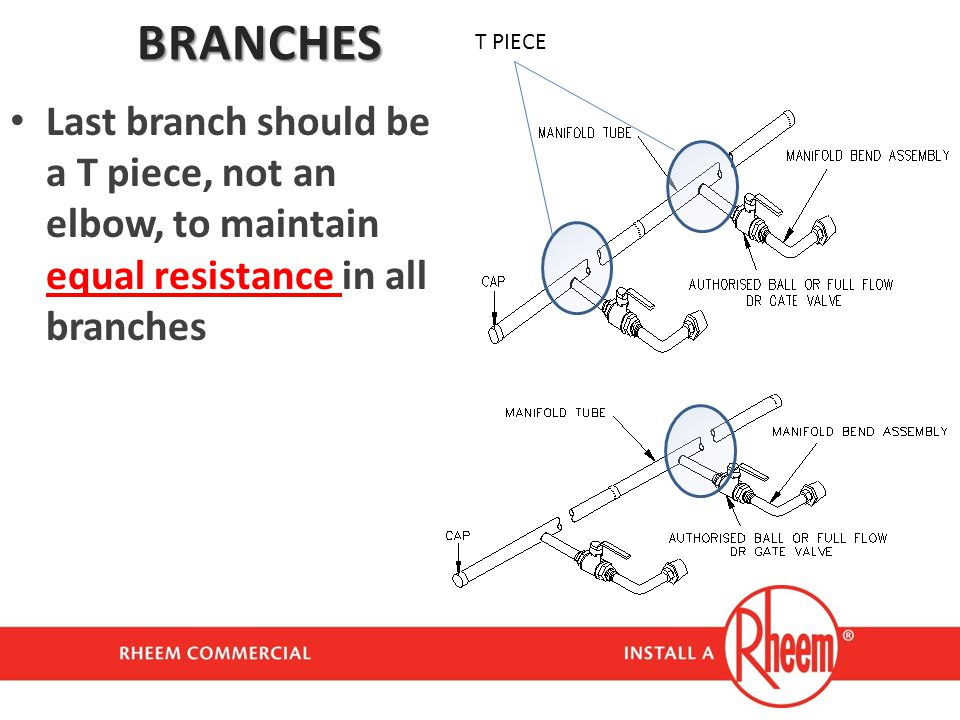 BRANCHES T PIECE. Last branch should be a T piece, not an elbow, to maintain equal resistance in all branches.