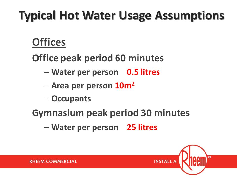 Typical Hot Water Usage Assumptions