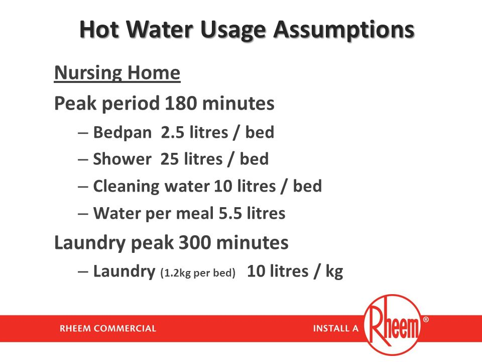 Hot Water Usage Assumptions