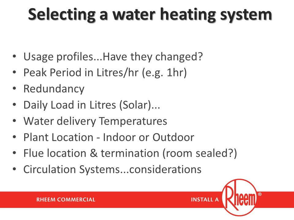 Selecting a water heating system