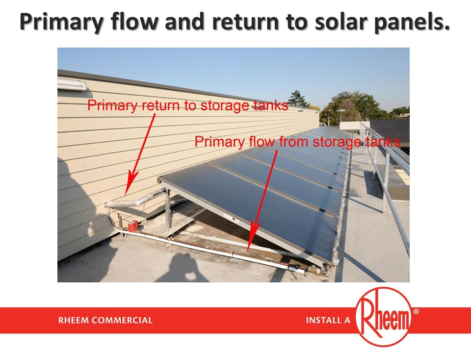 Primary flow and return to solar panels.