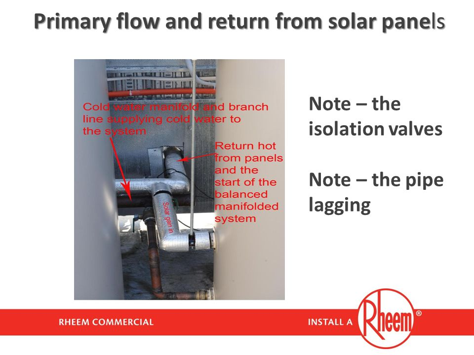 Primary flow and return from solar panels