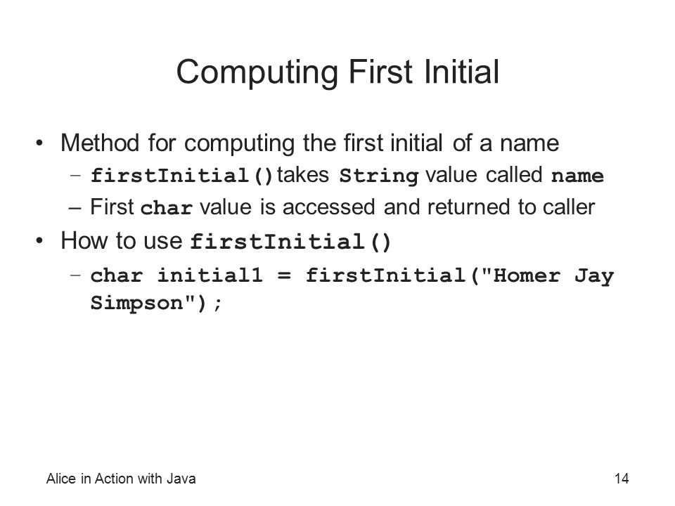 Computing First Initial