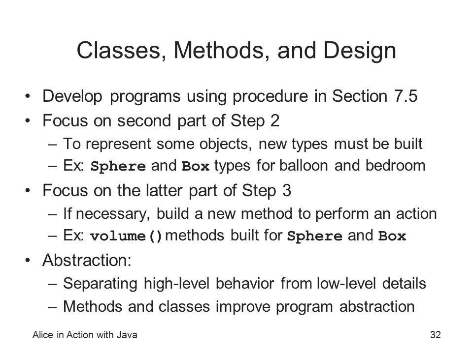 Classes, Methods, and Design