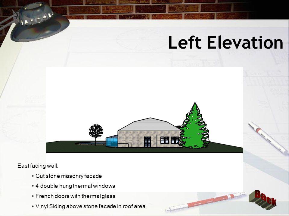 Left Elevation Back East facing wall: Cut stone masonry facade