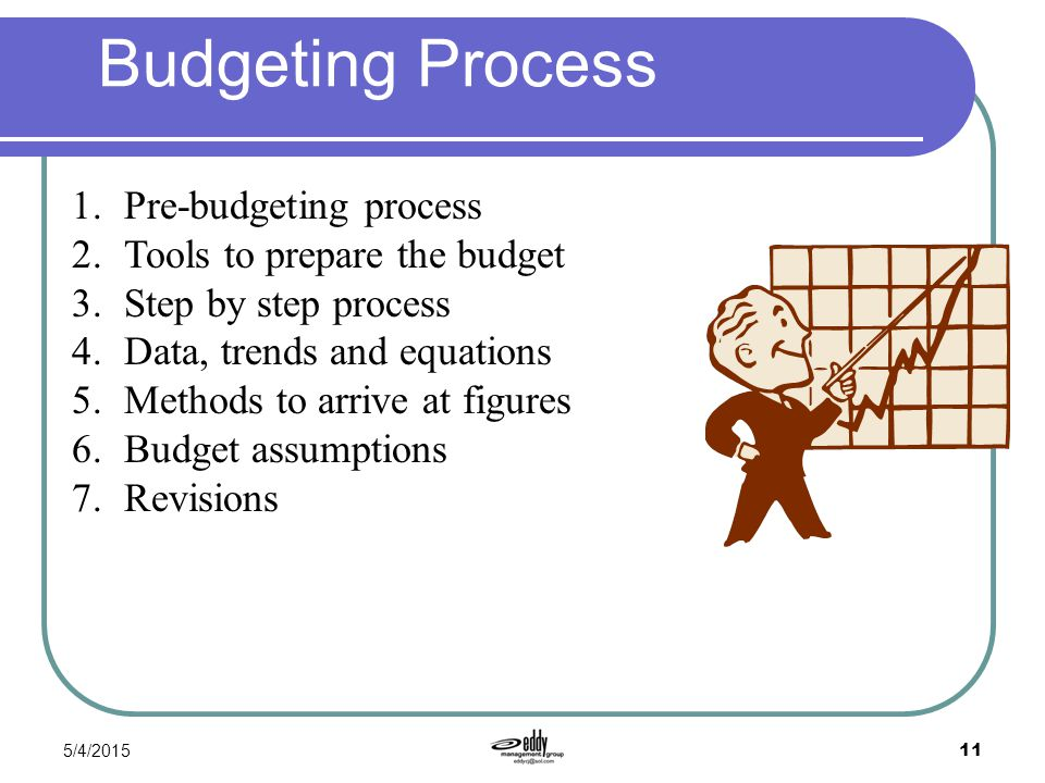 Budgeting Process Pre-budgeting process Tools to prepare the budget