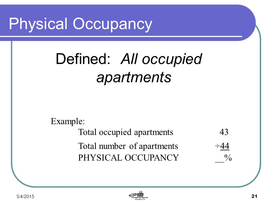 Defined: All occupied apartments
