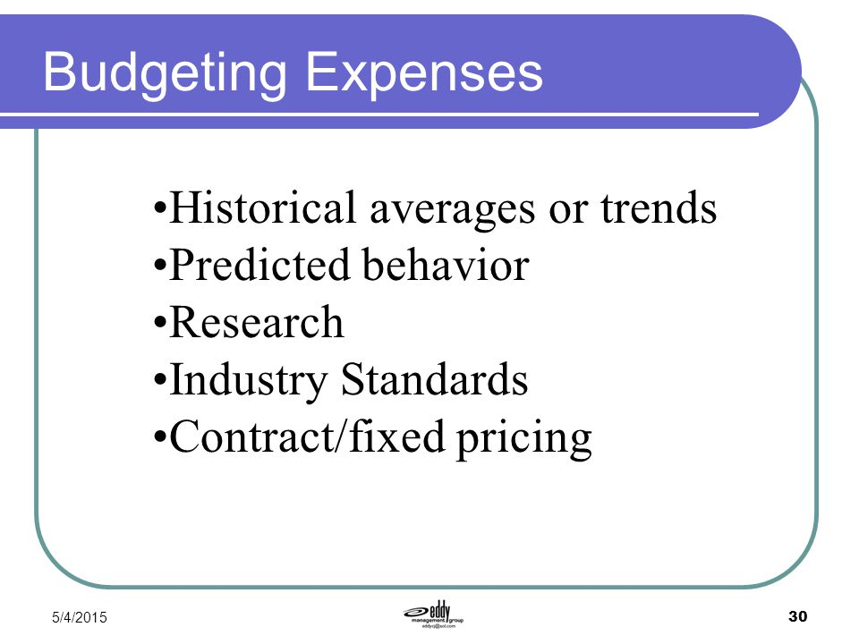 Budgeting Expenses Historical averages or trends Predicted behavior