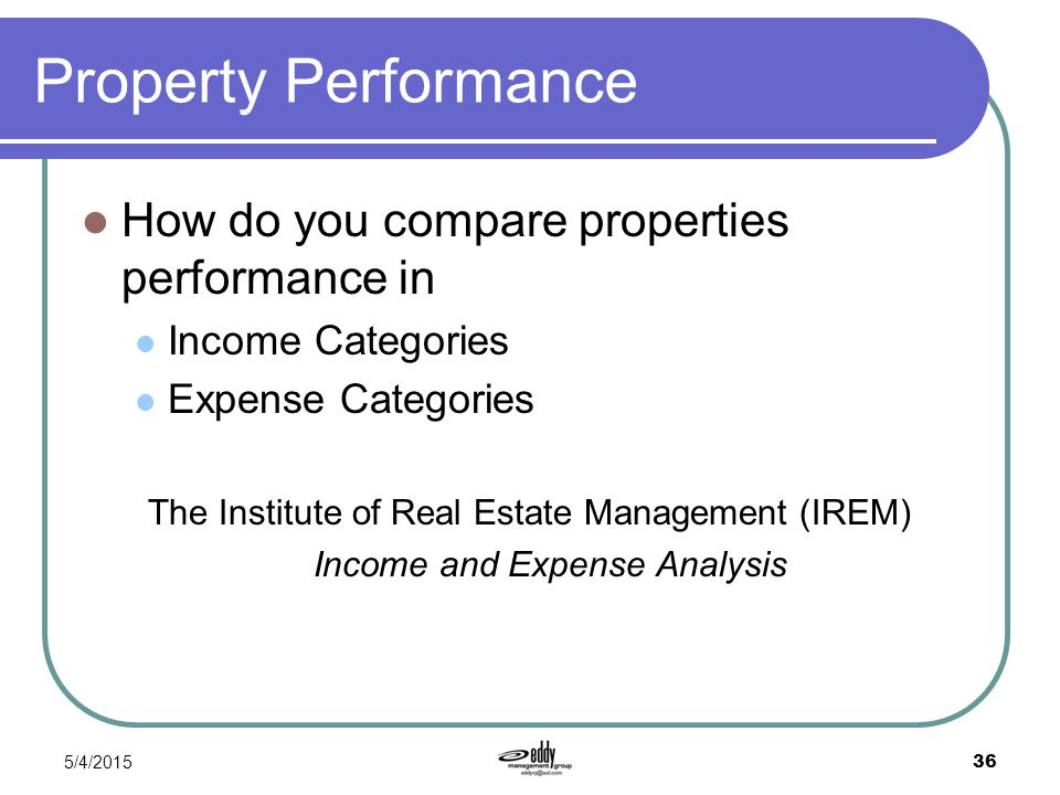 Property Performance How do you compare properties performance in
