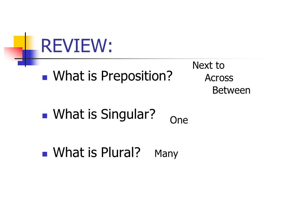 REVIEW: What is Preposition What is Singular What is Plural Next to