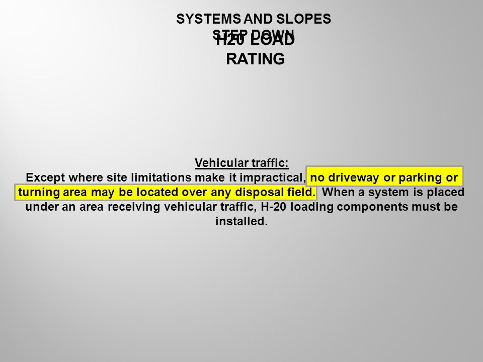 H20 LOAD RATING SYSTEMS AND SLOPES STEP DOWN Vehicular traffic: